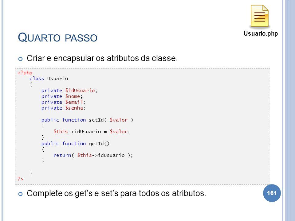 Q UARTO PASSO Criar e encapsular os atributos da classe. Complete os gets e sets para todos os atributos. 161 <?php class Usuario { private $idUsuario