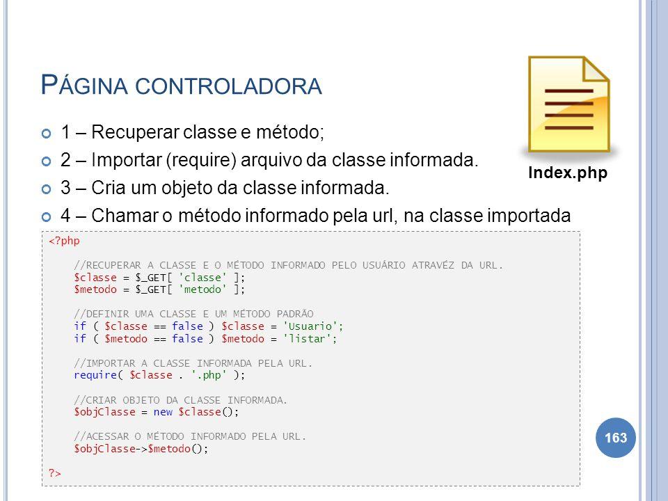 P ÁGINA CONTROLADORA 1 – Recuperar classe e método; 2 – Importar (require) arquivo da classe informada. 3 – Cria um objeto da classe informada. 4 – Ch