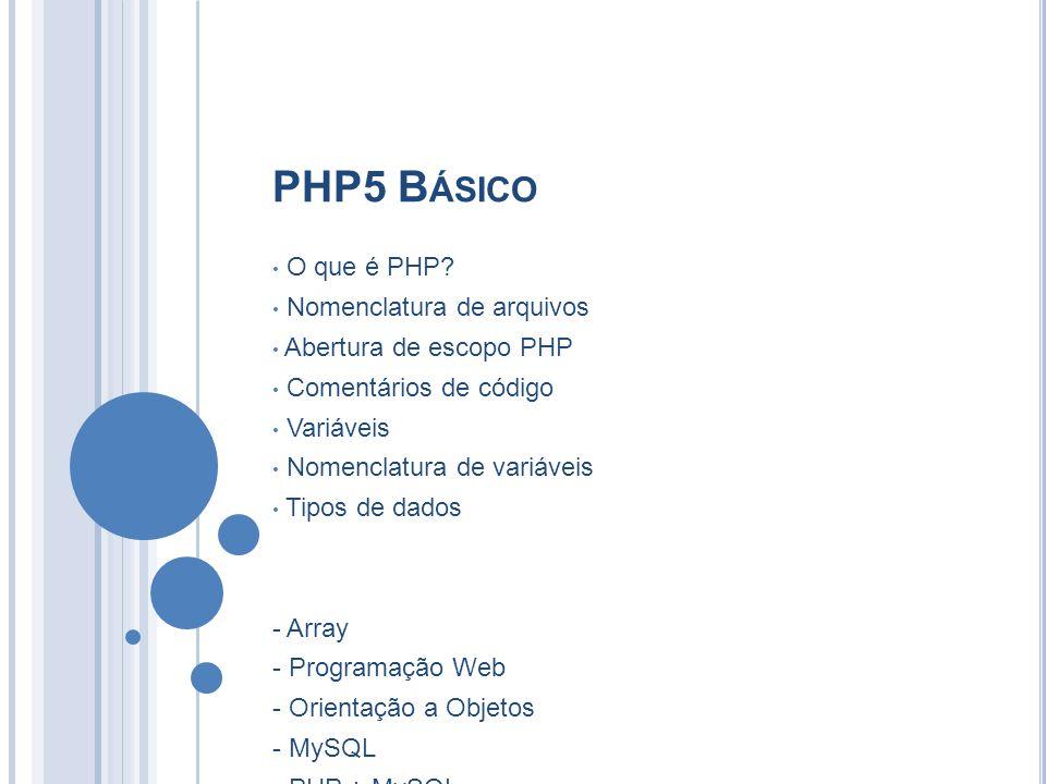 PHP5 B ÁSICO O que é PHP? Nomenclatura de arquivos Abertura de escopo PHP Comentários de código Variáveis Nomenclatura de variáveis Tipos de dados - A