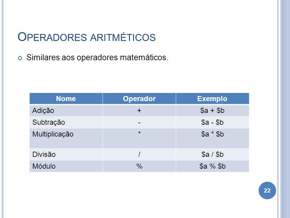 O PERADORES ARITMÉTICOS Similares aos operadores matemáticos. 22 NomeOperadorExemplo Adição+$a + $b Subtração-$a - $b Multiplicação*$a * $b Divisão/$a
