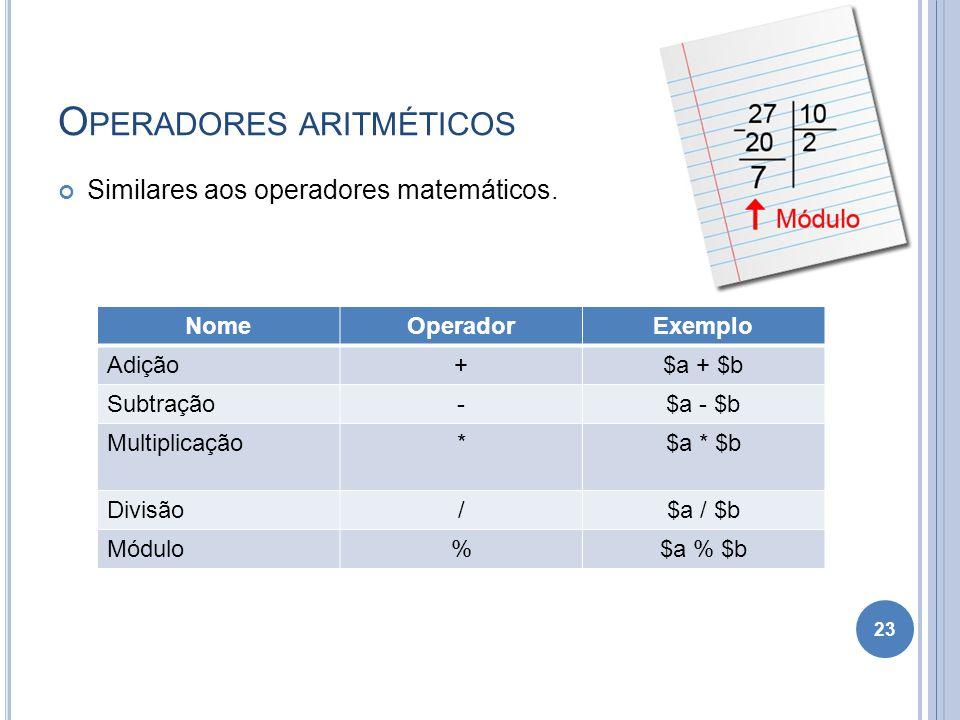 O PERADORES ARITMÉTICOS Similares aos operadores matemáticos. 23 NomeOperadorExemplo Adição+$a + $b Subtração-$a - $b Multiplicação*$a * $b Divisão/$a