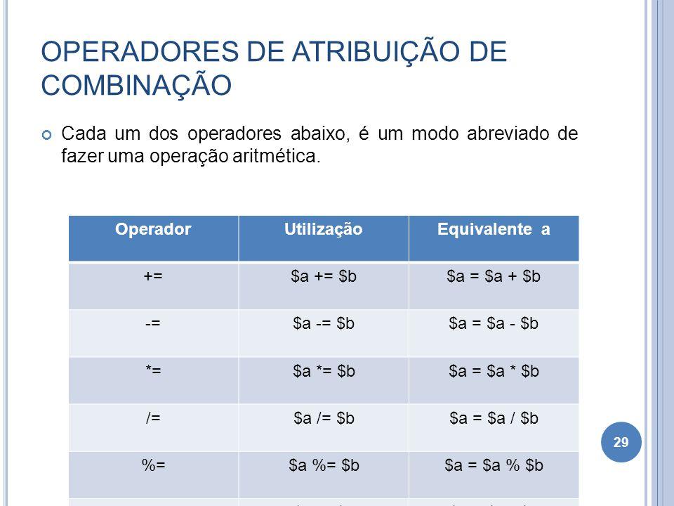 OPERADORES DE ATRIBUIÇÃO DE COMBINAÇÃO Cada um dos operadores abaixo, é um modo abreviado de fazer uma operação aritmética. 29 OperadorUtilizaçãoEquiv
