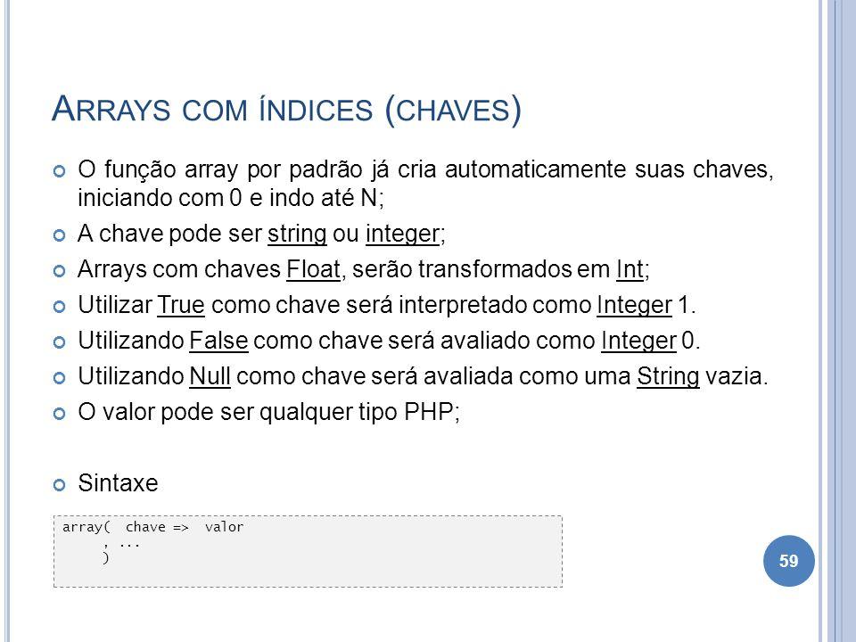 A RRAYS COM ÍNDICES ( CHAVES ) O função array por padrão já cria automaticamente suas chaves, iniciando com 0 e indo até N; A chave pode ser string ou