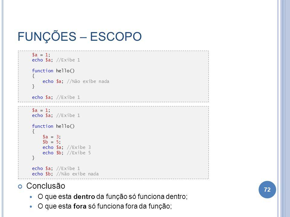 FUNÇÕES – ESCOPO Conclusão O que esta dentro da função só funciona dentro; O que esta fora só funciona fora da função; Todas as funções no PHP tem esc