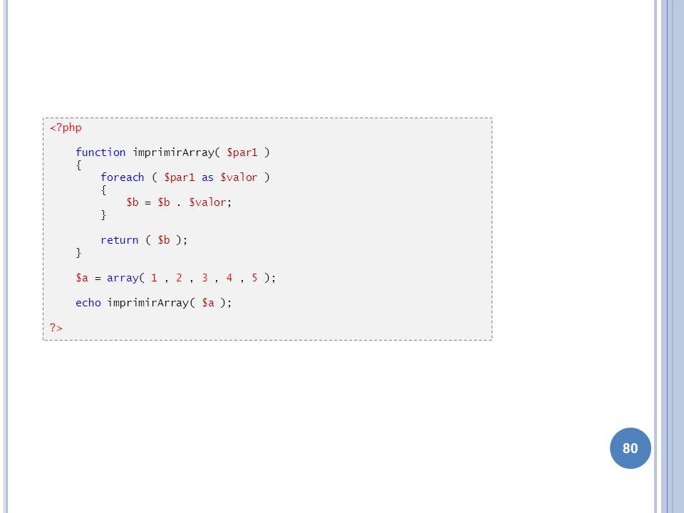80 <?php function imprimirArray( $par1 ) { foreach ( $par1 as $valor ) { $b = $b. $valor; } return ( $b ); } $a = array( 1, 2, 3, 4, 5 ); echo imprimi