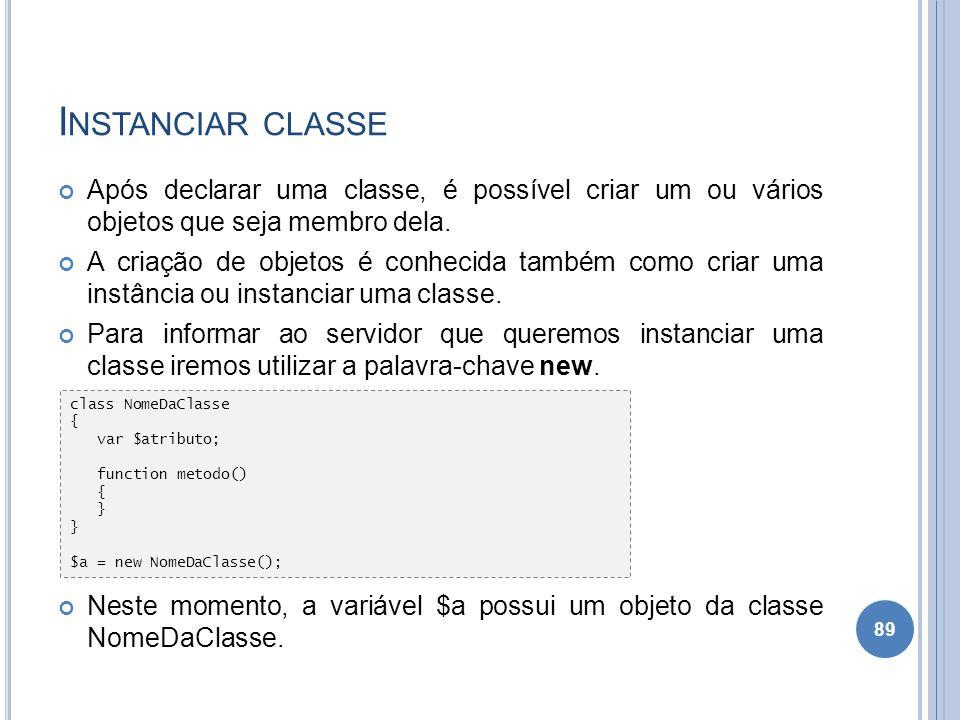 I NSTANCIAR CLASSE Após declarar uma classe, é possível criar um ou vários objetos que seja membro dela. A criação de objetos é conhecida também como