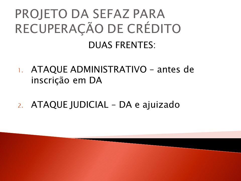 PROJETO DA SEFAZ PARA RECUPERAÇÃO DE CRÉDITO DUAS FRENTES: 1. ATAQUE ADMINISTRATIVO – antes de inscrição em DA 2. ATAQUE JUDICIAL – DA e ajuizado
