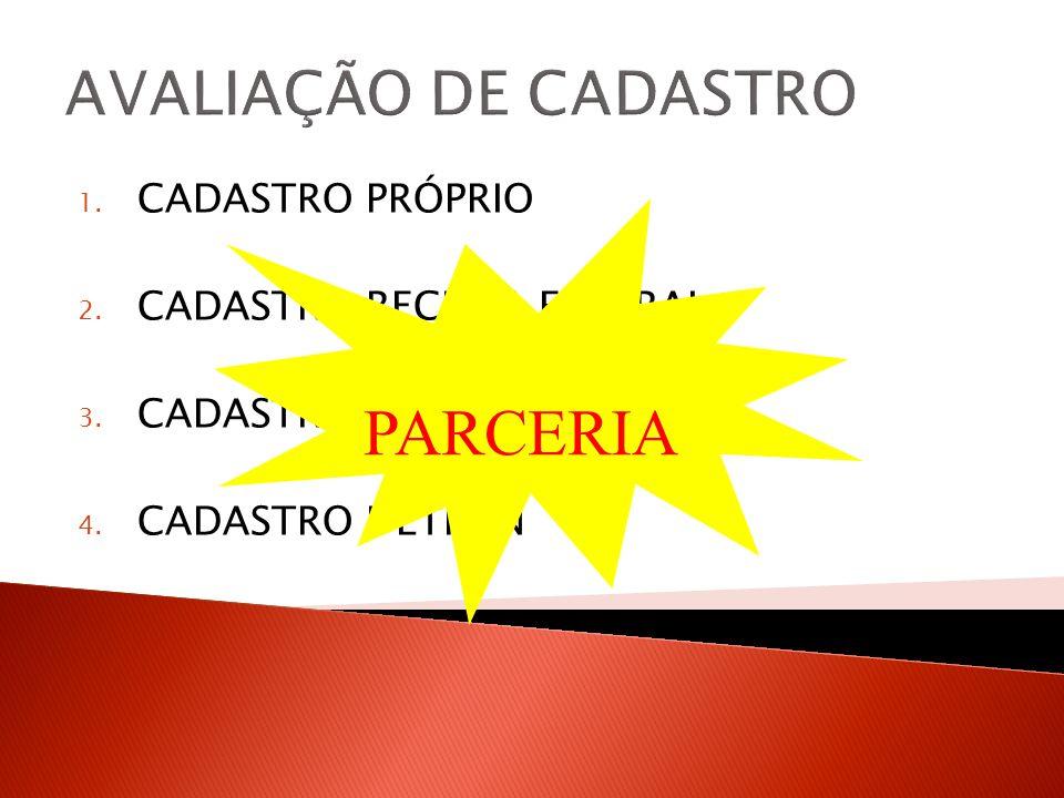 1.CADASTRO PRÓPRIO 2. CADASTRO RECEITA FEDERAL 3.