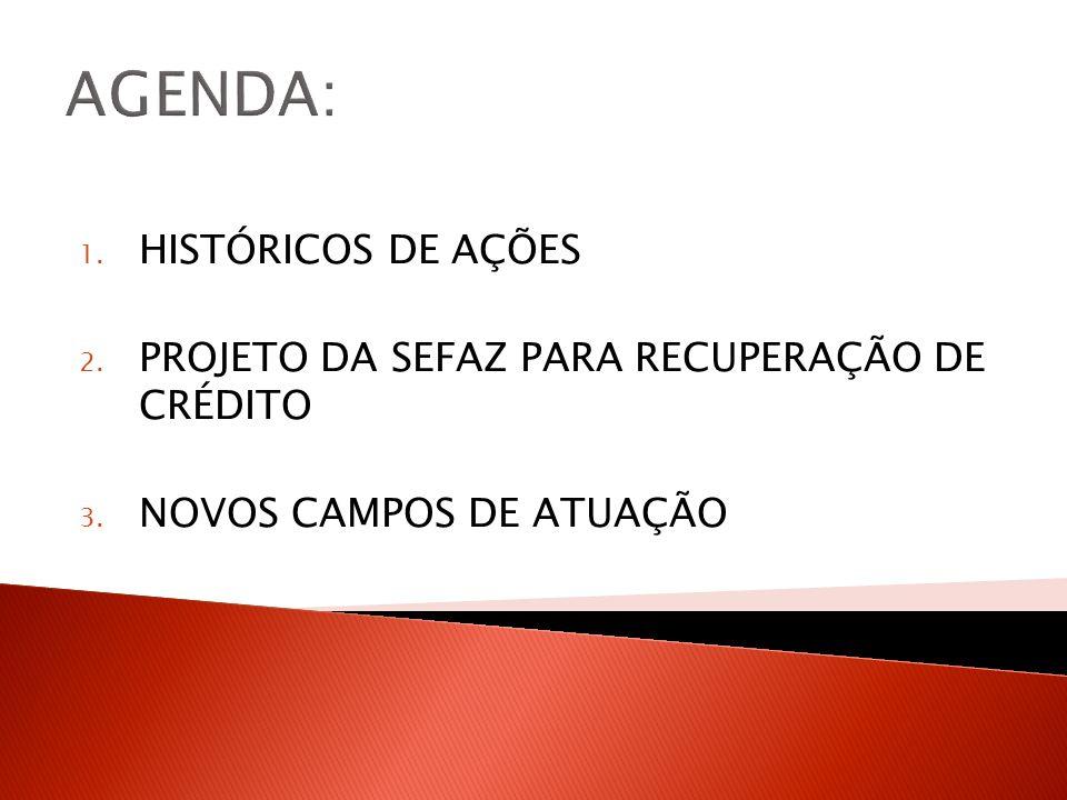AGENDA: 1. HISTÓRICOS DE AÇÕES 2. PROJETO DA SEFAZ PARA RECUPERAÇÃO DE CRÉDITO 3. NOVOS CAMPOS DE ATUAÇÃO