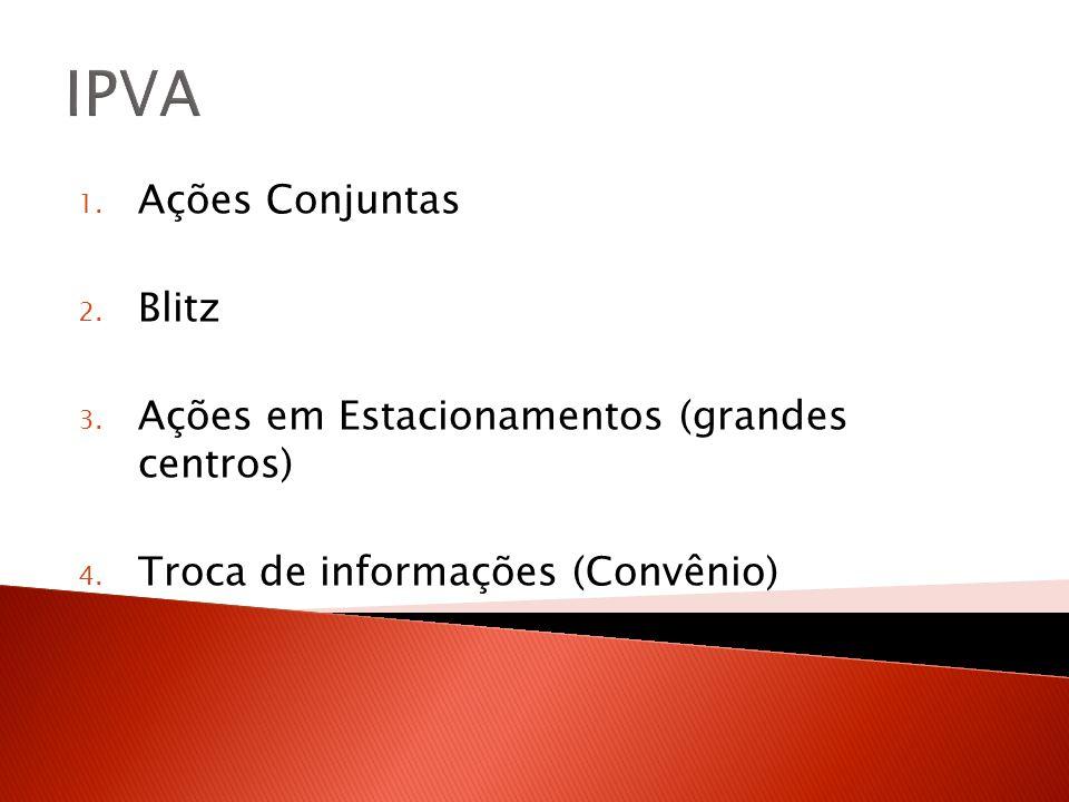 IPVA 1.Ações Conjuntas 2. Blitz 3. Ações em Estacionamentos (grandes centros) 4.