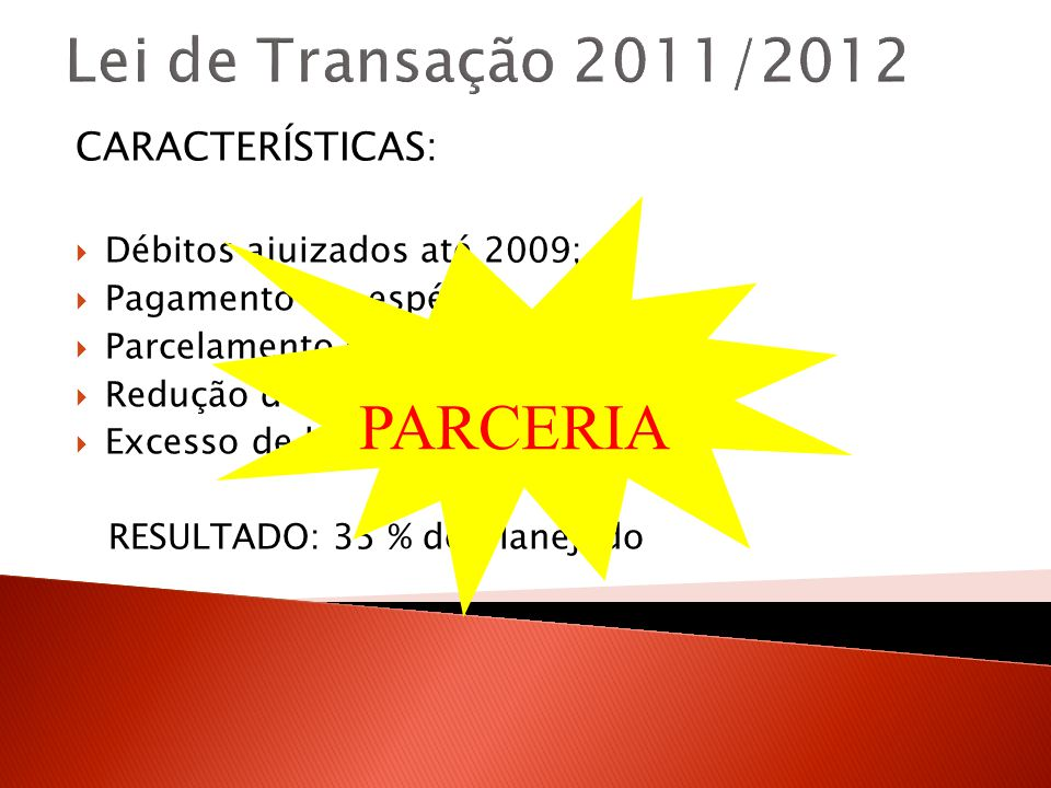 Lei de Transação 2011/2012 CARACTERÍSTICAS: Débitos ajuizados até 2009; Pagamento em espécie; Parcelamento em 30 vezes; Redução de 50% a 95%; Excesso de burocracia; RESULTADO: 35 % do planejado PARCERIA