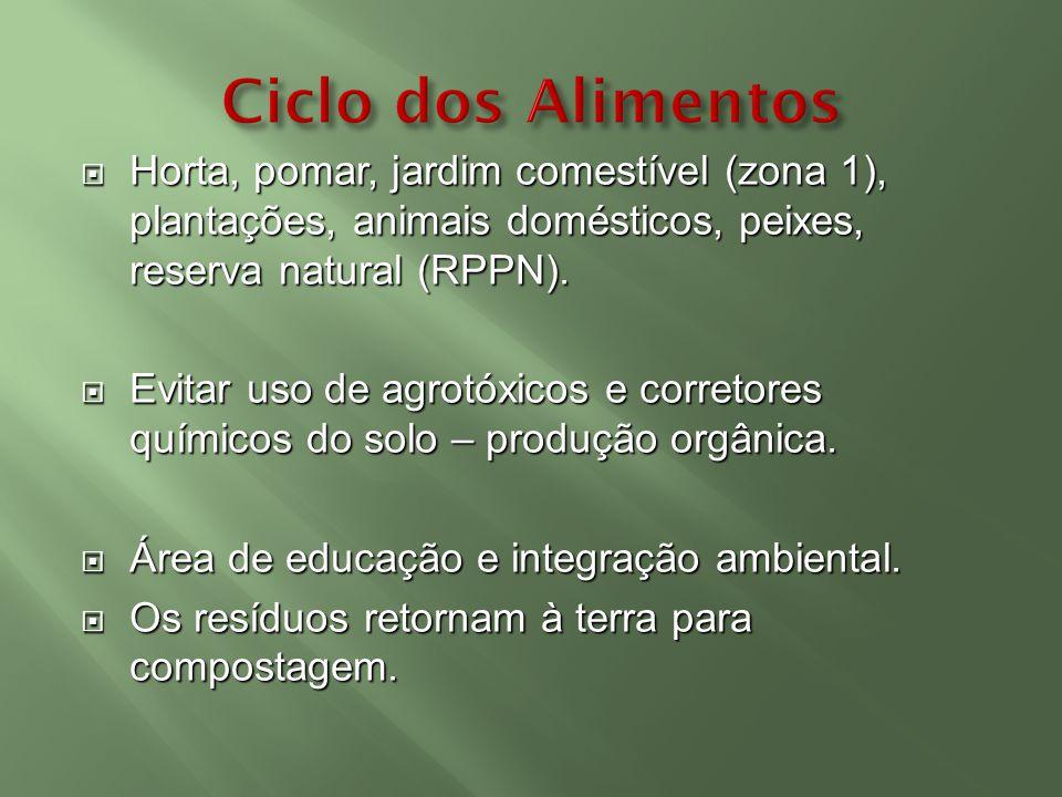 Horta, pomar, jardim comestível (zona 1), plantações, animais domésticos, peixes, reserva natural (RPPN). Horta, pomar, jardim comestível (zona 1), pl