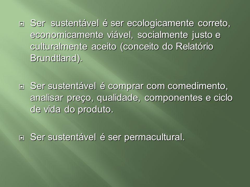 Ser sustentável é ser ecologicamente correto, economicamente viável, socialmente justo e culturalmente aceito (conceito do Relatório Brundtland). Ser