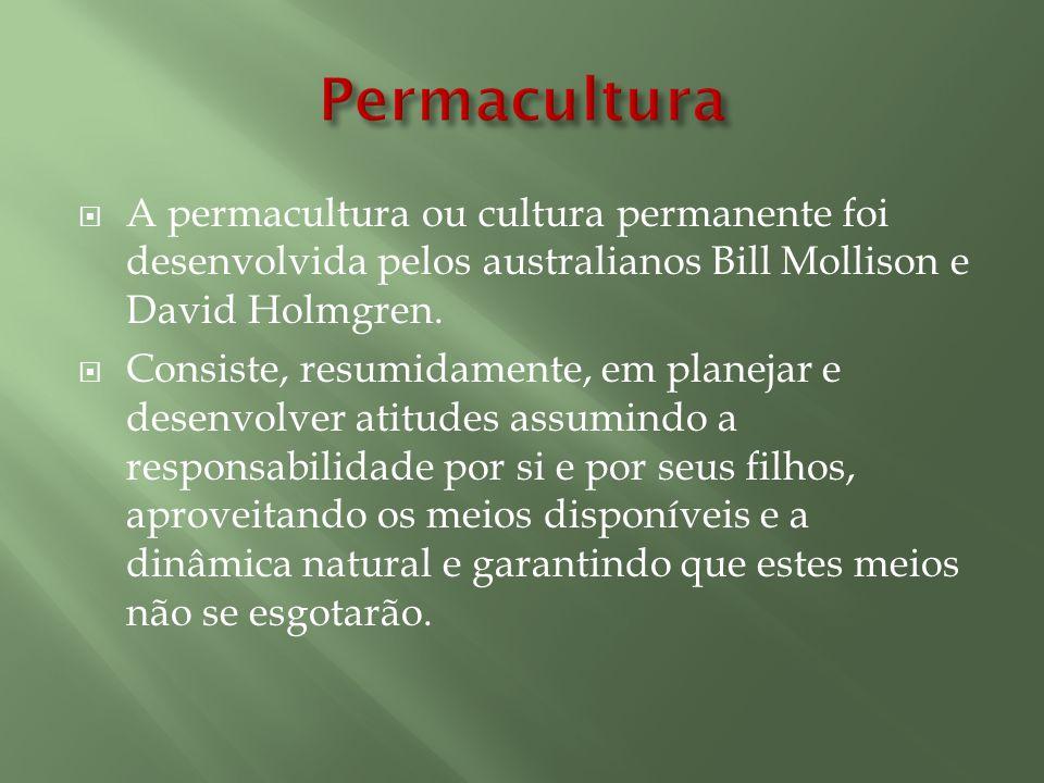 A permacultura ou cultura permanente foi desenvolvida pelos australianos Bill Mollison e David Holmgren. Consiste, resumidamente, em planejar e desenv