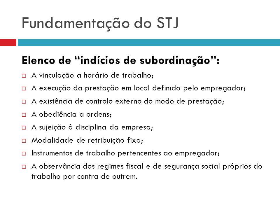 Fundamentação do STJ Elenco de indícios de subordinação: A vinculação a horário de trabalho; A execução da prestação em local definido pelo empregador