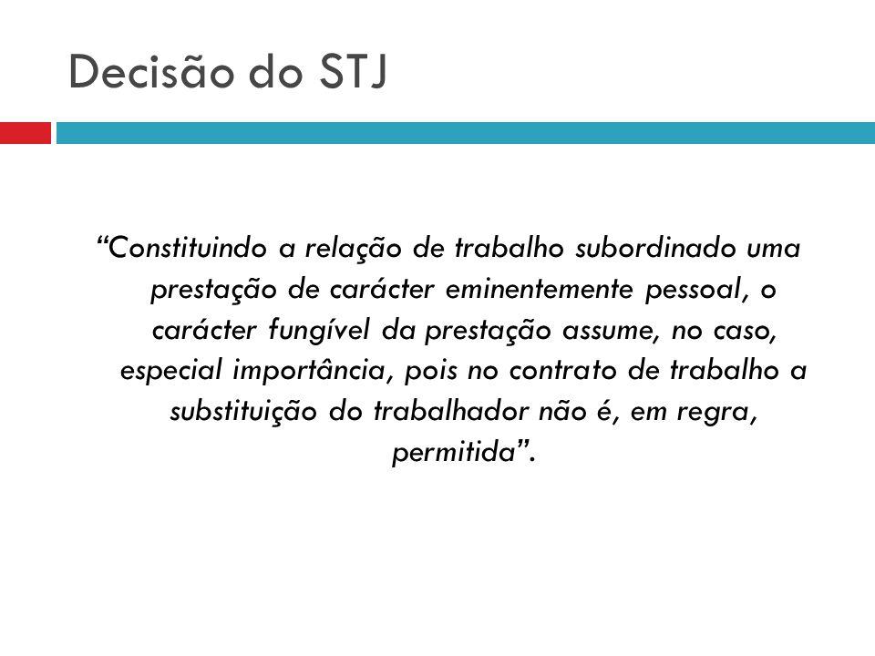Decisão do STJ Constituindo a relação de trabalho subordinado uma prestação de carácter eminentemente pessoal, o carácter fungível da prestação assume