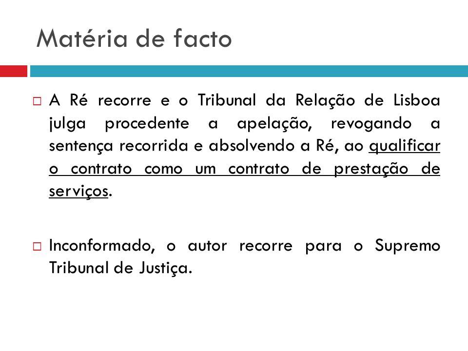 Matéria de facto A Ré recorre e o Tribunal da Relação de Lisboa julga procedente a apelação, revogando a sentença recorrida e absolvendo a Ré, ao qual