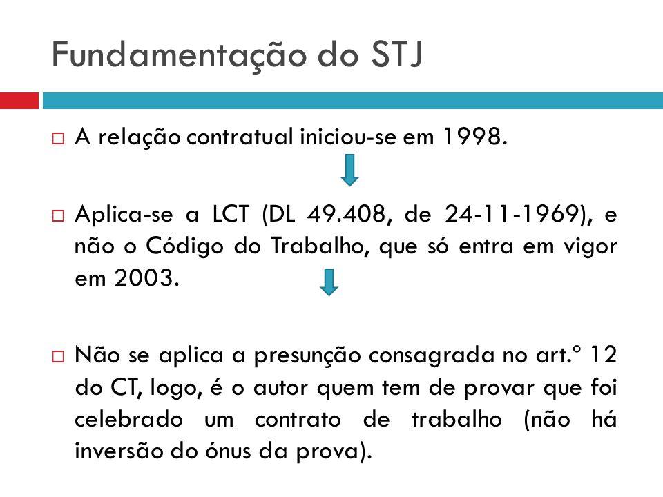 Fundamentação do STJ A relação contratual iniciou-se em 1998. Aplica-se a LCT (DL 49.408, de 24-11-1969), e não o Código do Trabalho, que só entra em