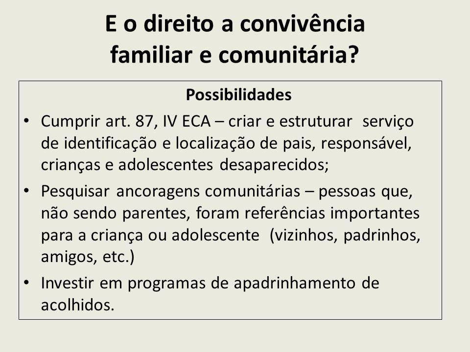 E o direito a convivência familiar e comunitária? Possibilidades Cumprir art. 87, IV ECA – criar e estruturar serviço de identificação e localização d