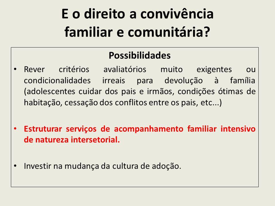 E o direito a convivência familiar e comunitária? Possibilidades Rever critérios avaliatórios muito exigentes ou condicionalidades irreais para devolu