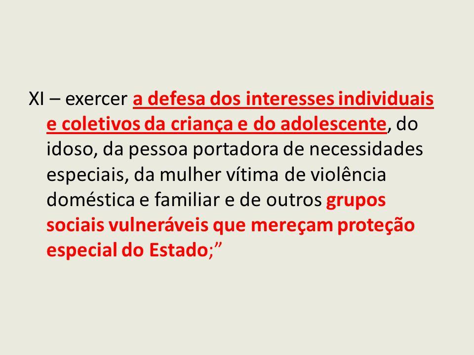 XI – exercer a defesa dos interesses individuais e coletivos da criança e do adolescente, do idoso, da pessoa portadora de necessidades especiais, da