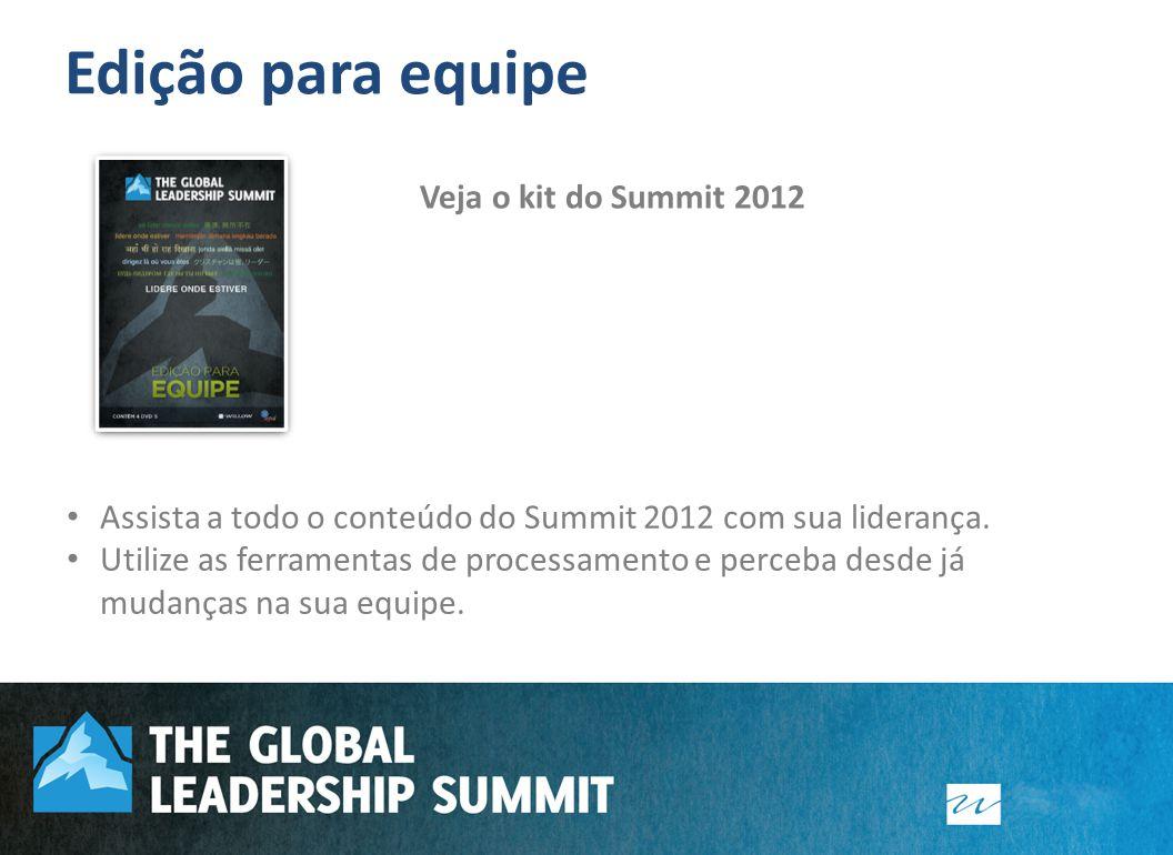 Edição para equipe Assista a todo o conteúdo do Summit 2012 com sua liderança. Utilize as ferramentas de processamento e perceba desde já mudanças na