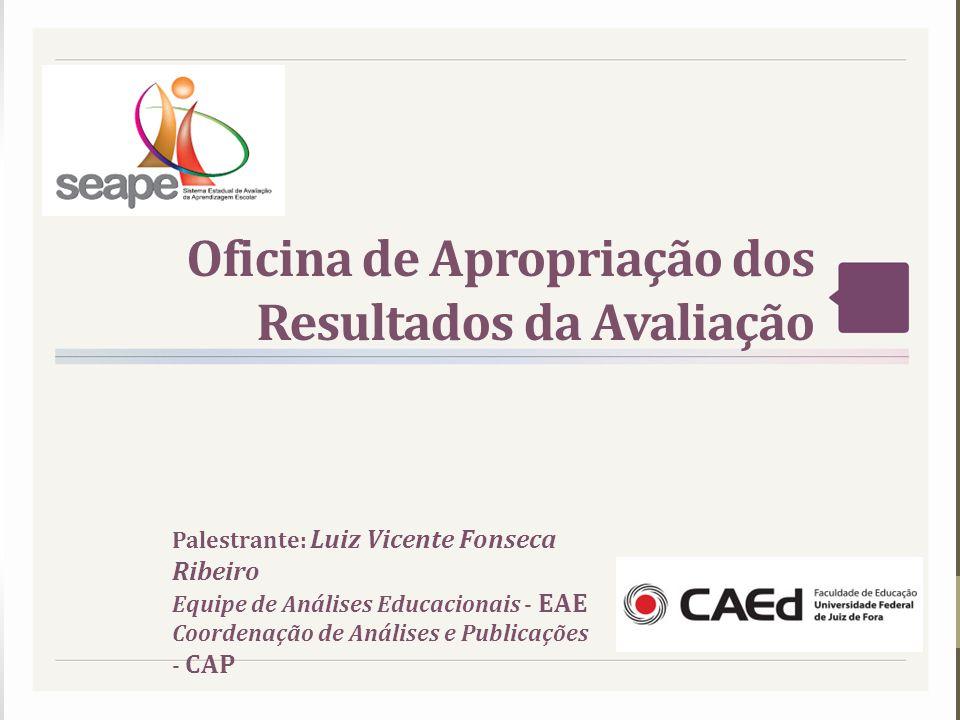 Oficina de Apropriação dos Resultados da Avaliação Palestrante: Luiz Vicente Fonseca Ribeiro Equipe de Análises Educacionais - EAE Coordenação de Anál