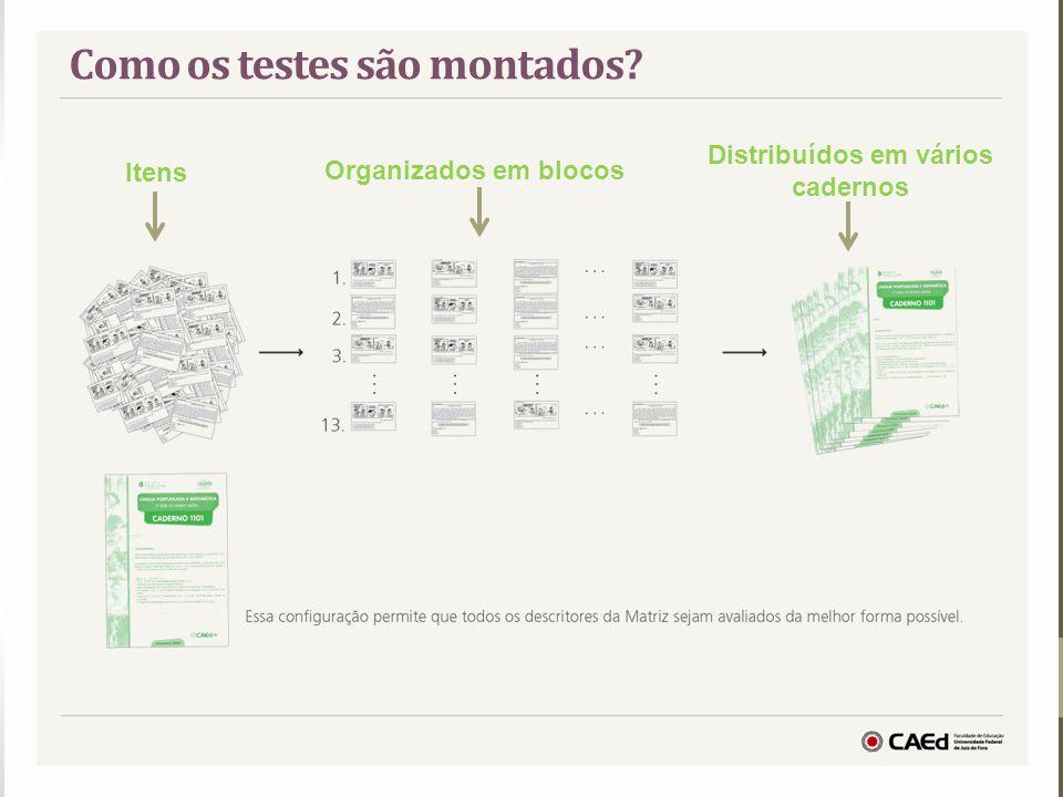 Como os testes são montados? Itens Organizados em blocos Distribuídos em vários cadernos