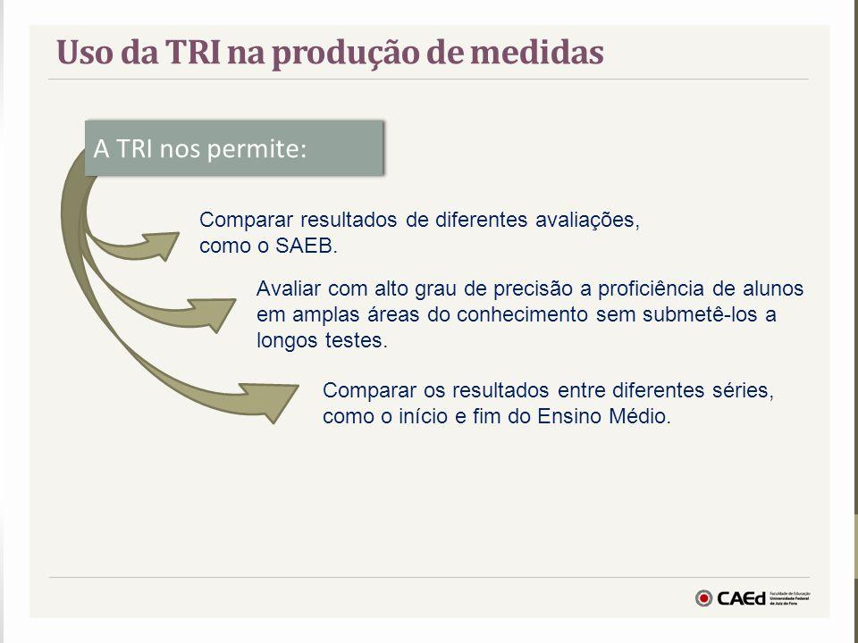 A TRI nos permite: Comparar resultados de diferentes avaliações, como o SAEB. Avaliar com alto grau de precisão a proficiência de alunos em amplas áre