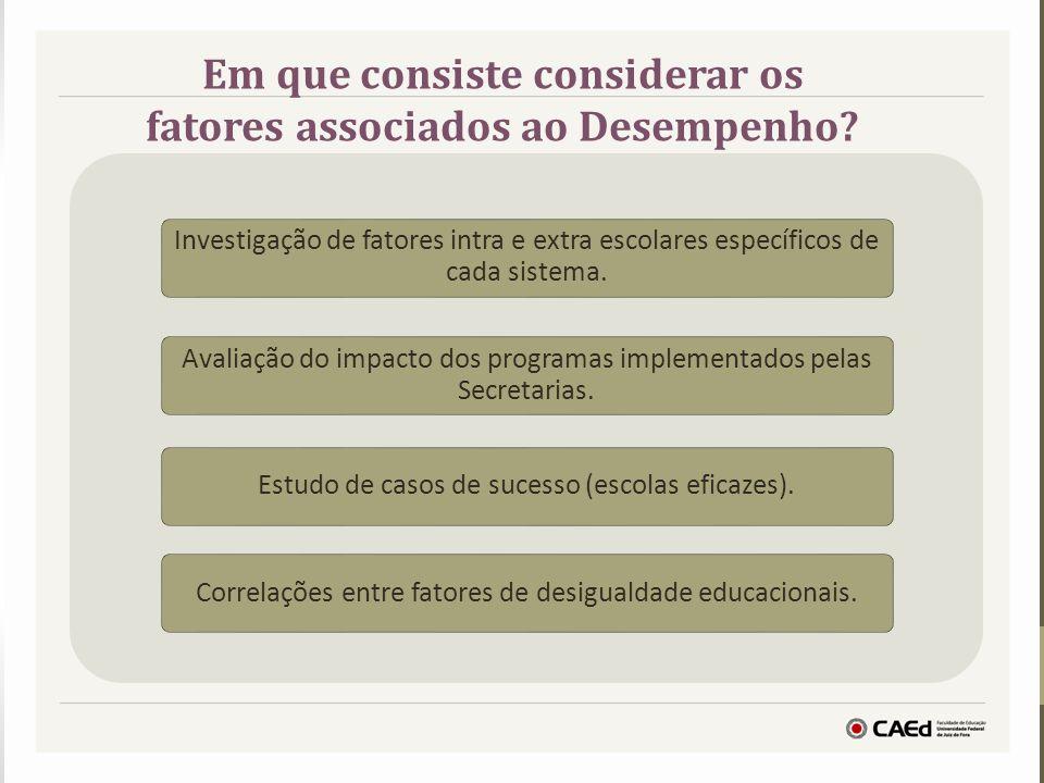 Investigação de fatores intra e extra escolares específicos de cada sistema. Avaliação do impacto dos programas implementados pelas Secretarias. Estud