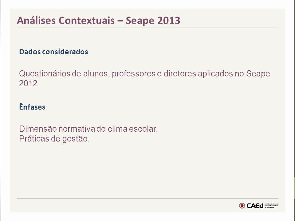 Análises Contextuais – Seape 2013 Dados considerados Questionários de alunos, professores e diretores aplicados no Seape 2012. Ênfases Dimensão normat