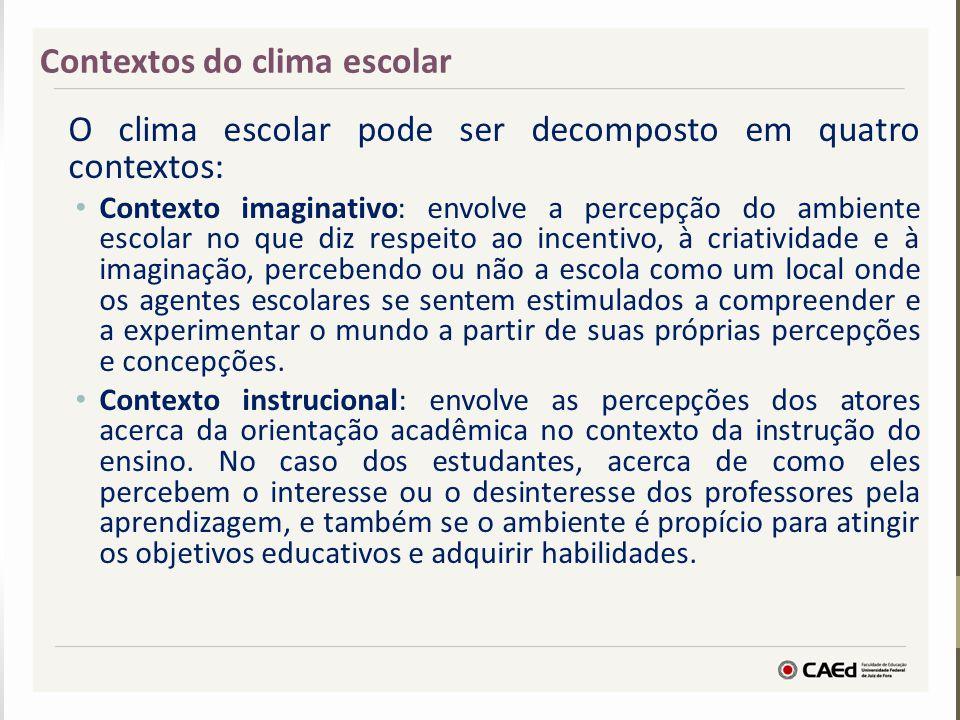 O clima escolar pode ser decomposto em quatro contextos: Contexto imaginativo: envolve a percepção do ambiente escolar no que diz respeito ao incentiv