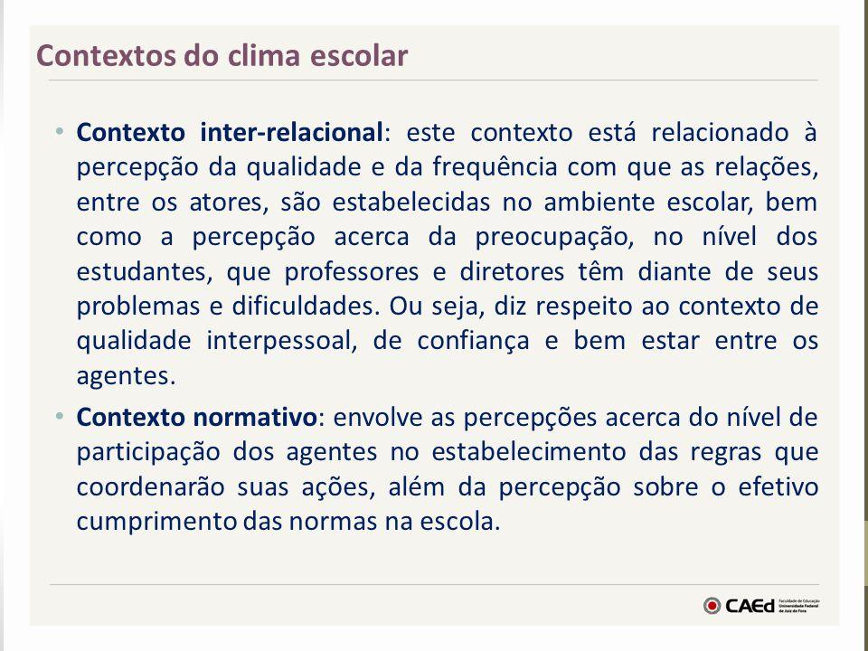 Contexto inter-relacional: este contexto está relacionado à percepção da qualidade e da frequência com que as relações, entre os atores, são estabelec
