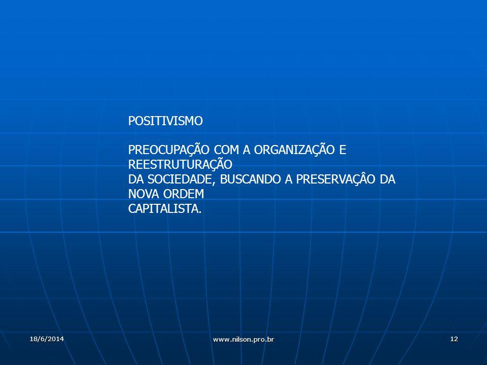 12 POSITIVISMO PREOCUPAÇÃO COM A ORGANIZAÇÃO E REESTRUTURAÇÃO DA SOCIEDADE, BUSCANDO A PRESERVAÇÂO DA NOVA ORDEM CAPITALISTA.