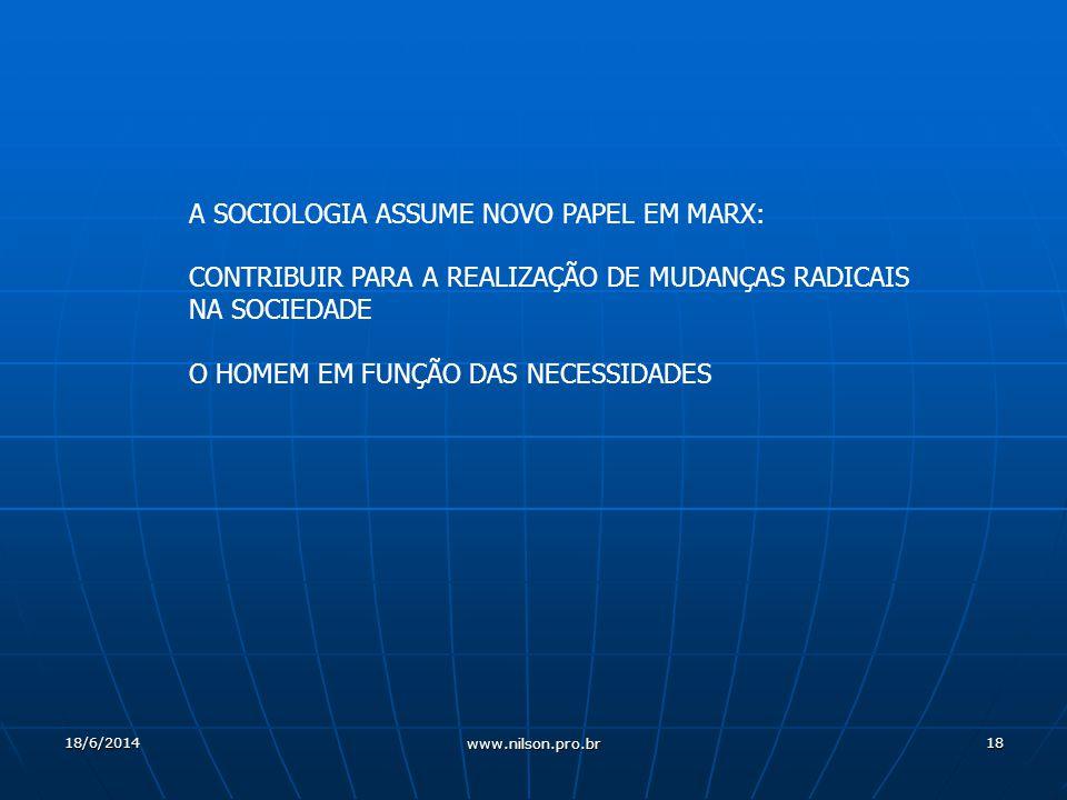 18 A SOCIOLOGIA ASSUME NOVO PAPEL EM MARX: CONTRIBUIR PARA A REALIZAÇÃO DE MUDANÇAS RADICAIS NA SOCIEDADE O HOMEM EM FUNÇÃO DAS NECESSIDADES 18/6/2014 www.nilson.pro.br