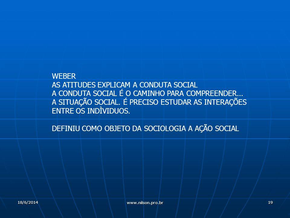 19 WEBER AS ATITUDES EXPLICAM A CONDUTA SOCIAL A CONDUTA SOCIAL É O CAMINHO PARA COMPREENDER...