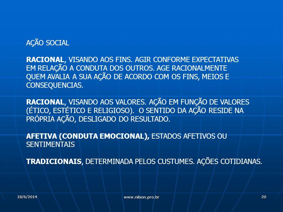 20 AÇÃO SOCIAL RACIONAL, VISANDO AOS FINS.