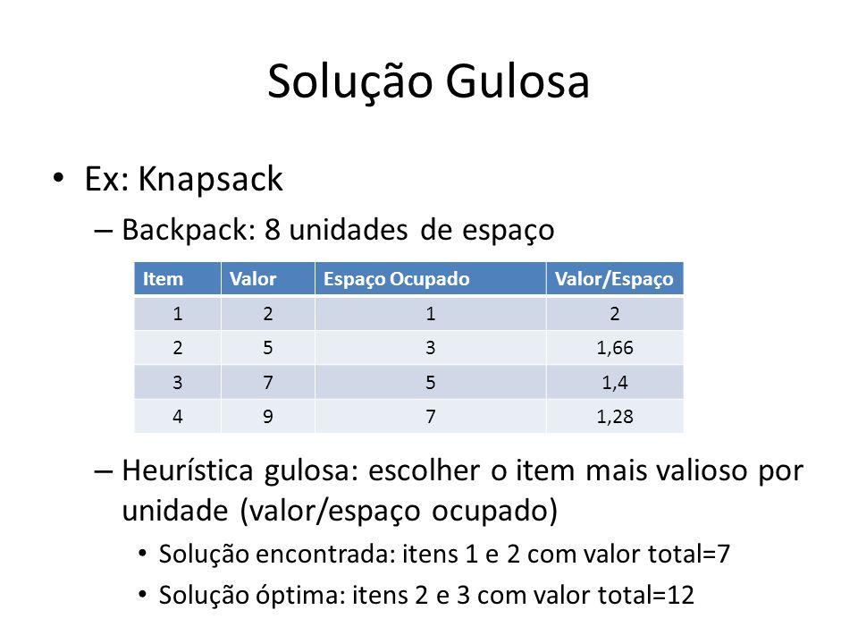 Solução Gulosa Ex: Knapsack – Backpack: 8 unidades de espaço – Heurística gulosa: escolher o item mais valioso por unidade (valor/espaço ocupado) Solu