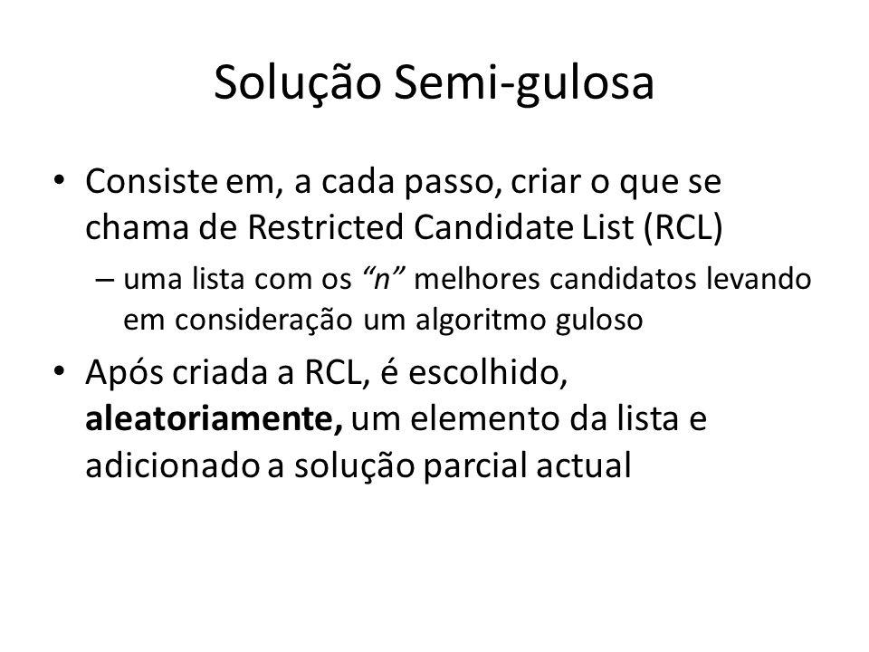 Solução Semi-gulosa Consiste em, a cada passo, criar o que se chama de Restricted Candidate List (RCL) – uma lista com os n melhores candidatos levand