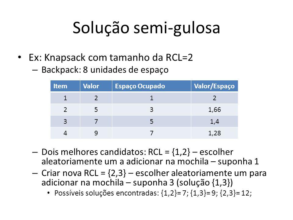 Solução semi-gulosa Ex: Knapsack com tamanho da RCL=2 – Backpack: 8 unidades de espaço – Dois melhores candidatos: RCL = {1,2} – escolher aleatoriamen
