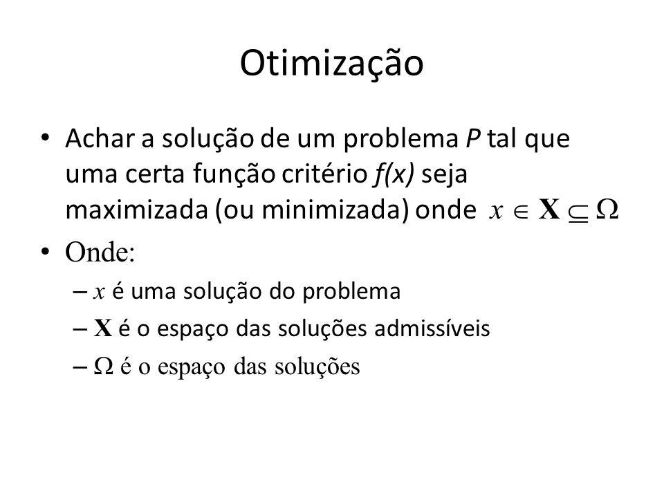 Otimização Achar a solução de um problema P tal que uma certa função critério f(x) seja maximizada (ou minimizada) onde x X Onde: – x é uma solução do