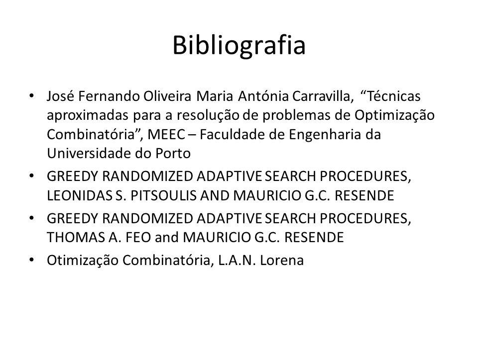 Bibliografia José Fernando Oliveira Maria Antónia Carravilla, Técnicas aproximadas para a resolução de problemas de Optimização Combinatória, MEEC – F