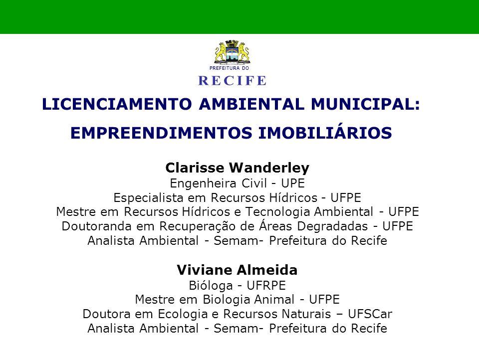 Clarisse Wanderley Engenheira Civil - UPE Especialista em Recursos Hídricos - UFPE Mestre em Recursos Hídricos e Tecnologia Ambiental - UFPE Doutorand