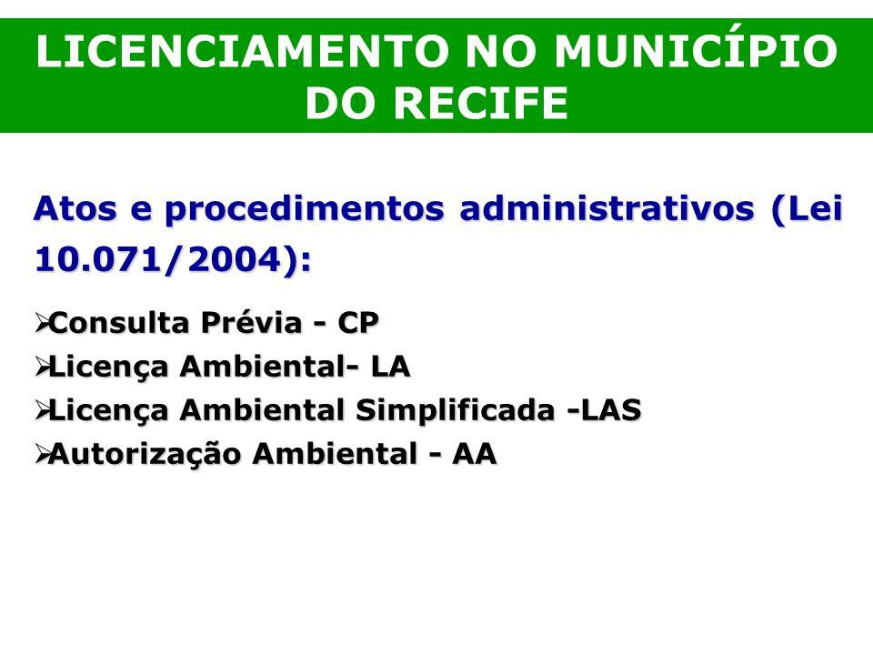 Atos e procedimentos administrativos (Lei 10.071/2004): Consulta Prévia - CP Consulta Prévia - CP Licença Ambiental- LA Licença Ambiental- LA Licença