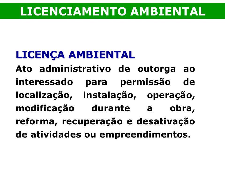 LICENÇA AMBIENTAL Ato administrativo de outorga ao interessado para permissão de localização, instalação, operação, modificação durante a obra, reform