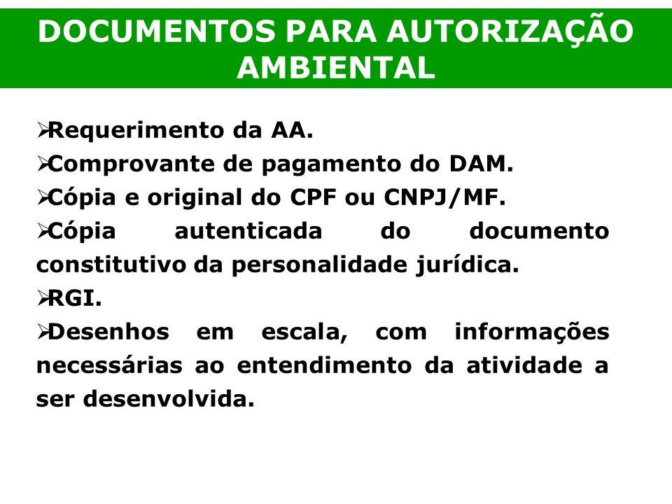 Requerimento da AA. Comprovante de pagamento do DAM. Cópia e original do CPF ou CNPJ/MF. Cópia autenticada do documento constitutivo da personalidade