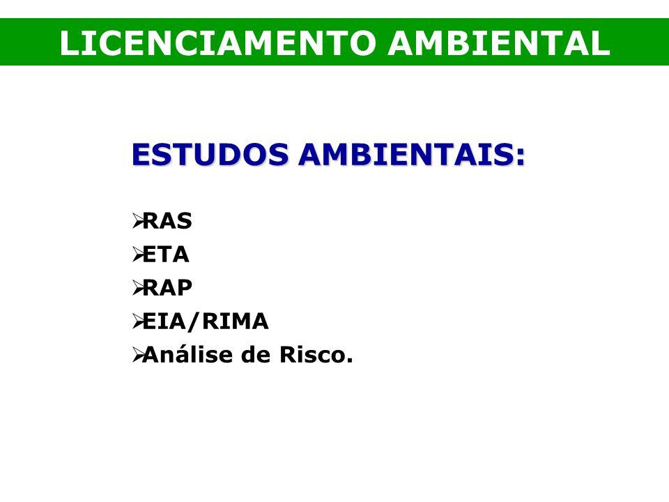 ESTUDOS AMBIENTAIS: RAS ETA RAP EIA/RIMA Análise de Risco. LICENCIAMENTO AMBIENTAL