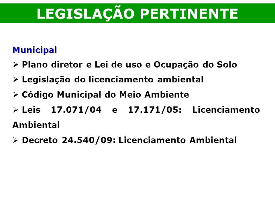 Municipal Plano diretor e Lei de uso e Ocupação do Solo Legislação do licenciamento ambiental Código Municipal do Meio Ambiente Leis 17.071/04 e 17.17