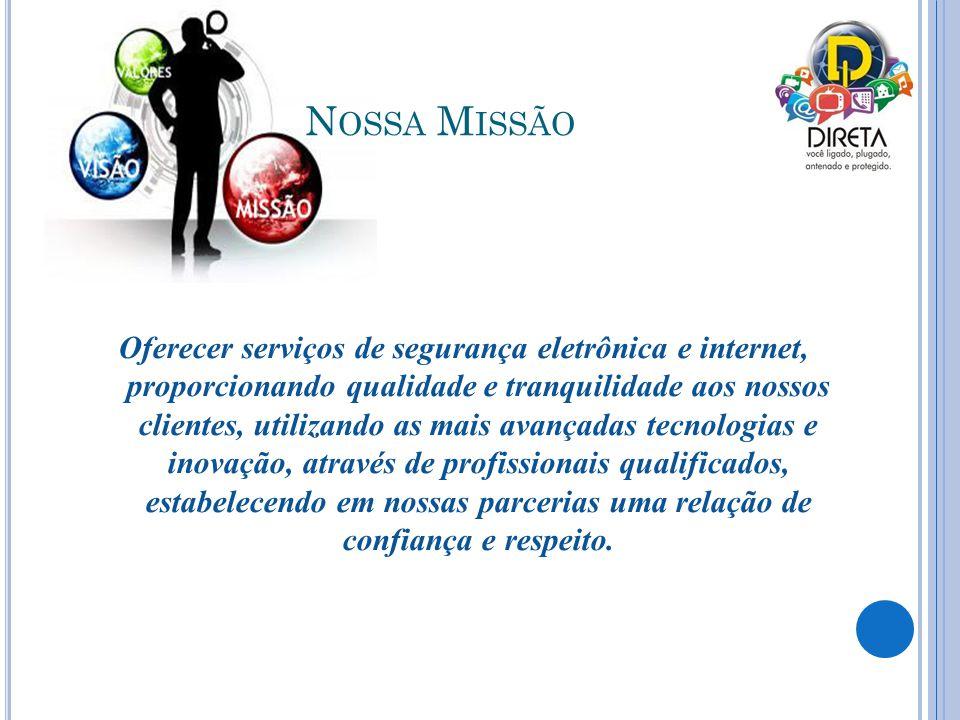 N OSSA M ISSÃO Oferecer serviços de segurança eletrônica e internet, proporcionando qualidade e tranquilidade aos nossos clientes, utilizando as mais