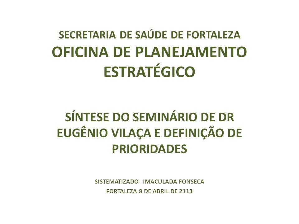SECRETARIA DE SAÚDE DE FORTALEZA OFICINA DE PLANEJAMENTO ESTRATÉGICO SÍNTESE DO SEMINÁRIO DE DR EUGÊNIO VILAÇA E DEFINIÇÃO DE PRIORIDADES SISTEMATIZADO- IMACULADA FONSECA FORTALEZA 8 DE ABRIL DE 2113